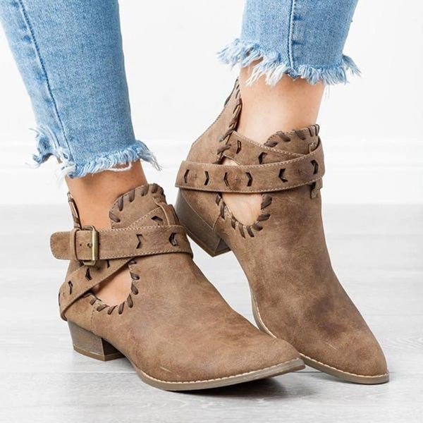 Casual Women's Sutured Ankle Boots