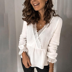 Women Solid Color Lace Long Slim Fit Blouses