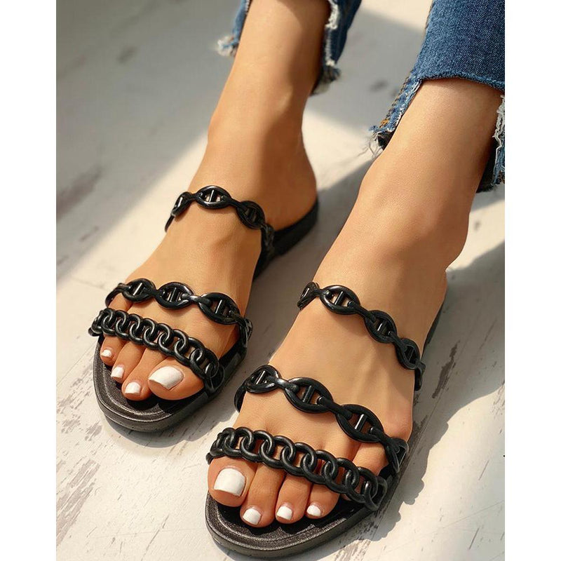 MULTI-CHAIN DESIGN OPEN TOE SLIPPERS