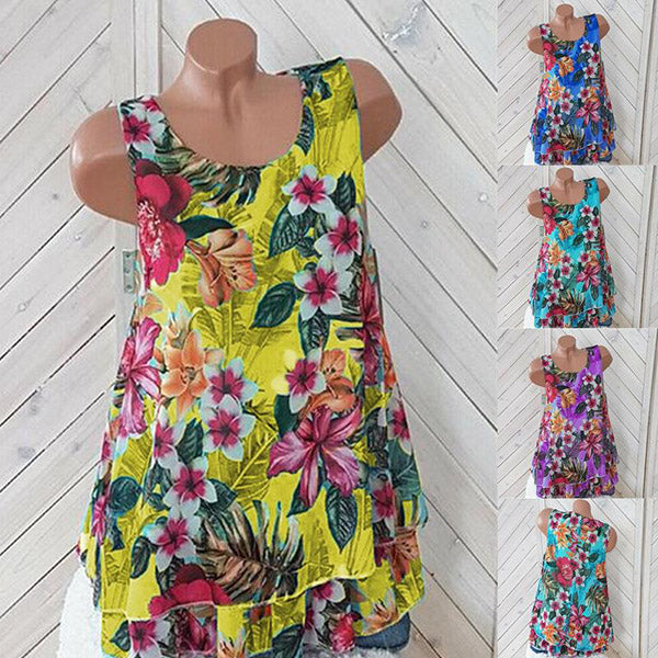 Casual Sleeveless Flower Printed Blouse