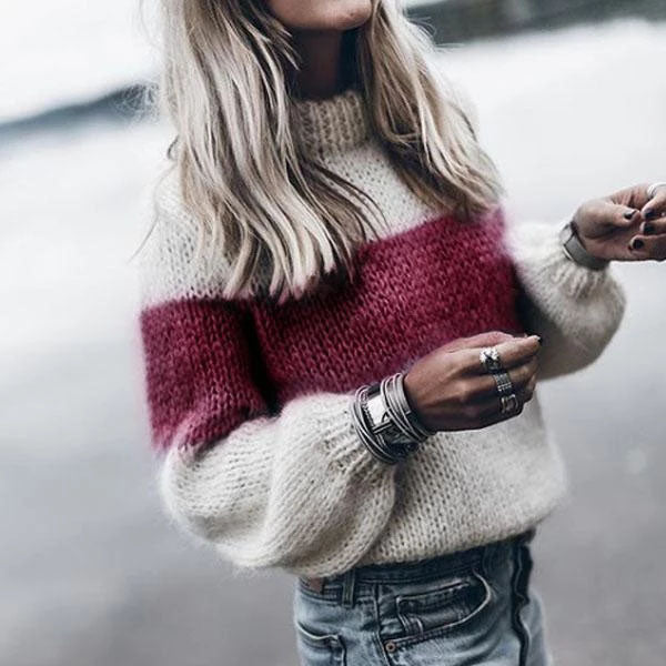 Casual High Neck Color Block Sweaters