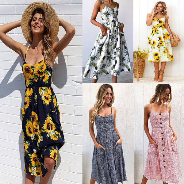V Neck Printed Vacation Dresses