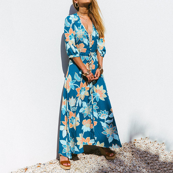 Sexy V Neck Printed  Vacation Dress