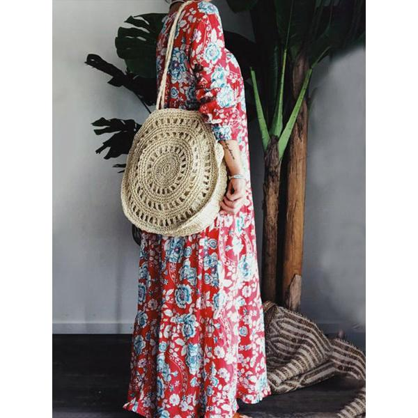 Bohemian V-Neck Loose Printed Dress
