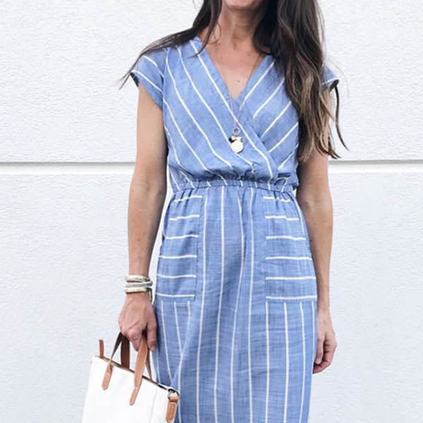 Elegant V Neck Stripe Casual Dress