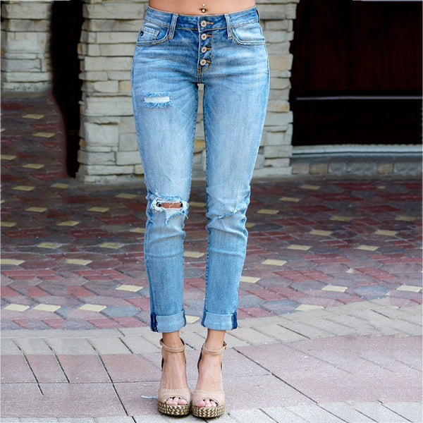 Women's Summer Broken Holes Casual Jeans