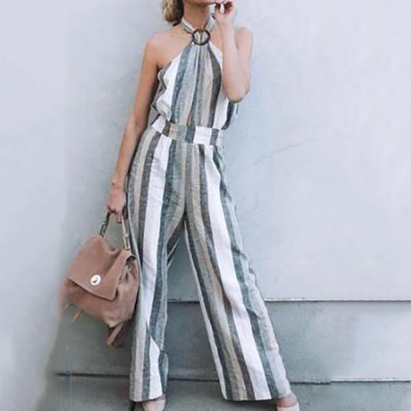 Stripe Halter Neck Backless Jumpsuits