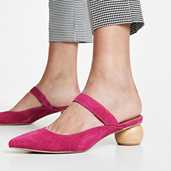 Point Toe Slip-On Low Heel Slippers
