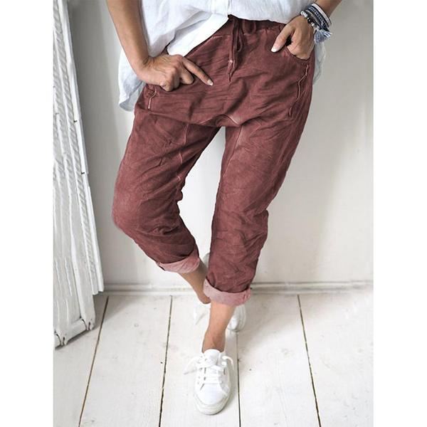 Summer Solid Color Slim Elastic Band Pants