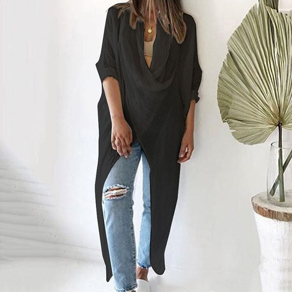 V-neck Loose Long-sleeved Asymmetric Blouse