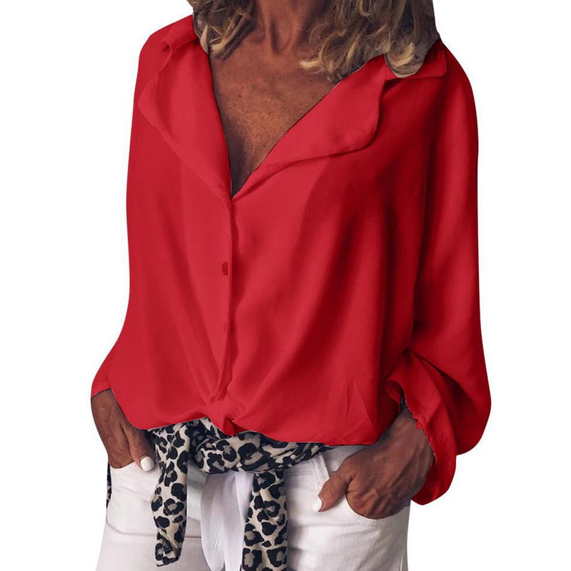 Fashion Solid Color Casual Blouses