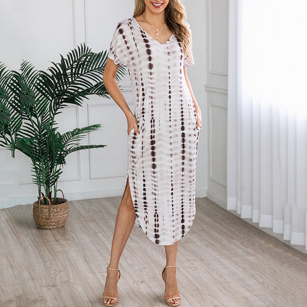 Casual Irregular Printed Round Neck Dress