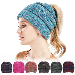 Womens Winter Cotton Knitted Ponytail Beanie Caps Thicken Earmuffs Messy Bun Hat