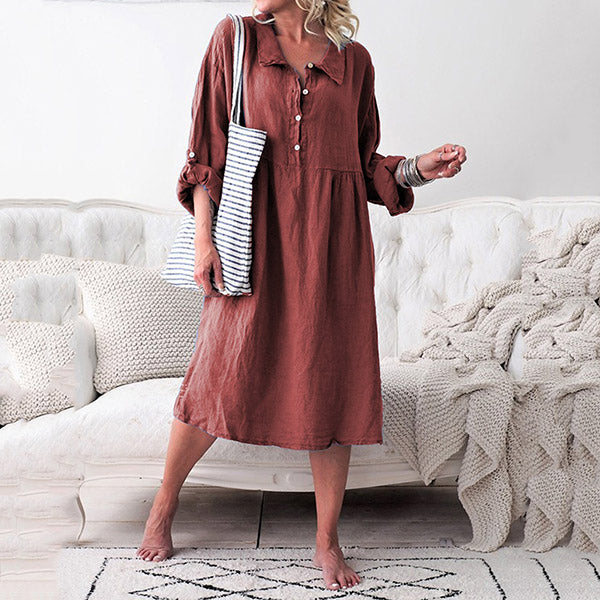 Solid Color Button Lapel Neck Dress