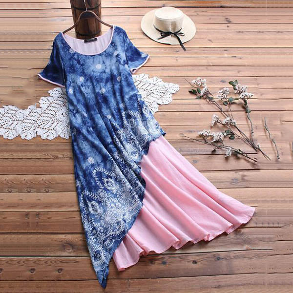 Plus Size Printed Round Neck Maxi Dress