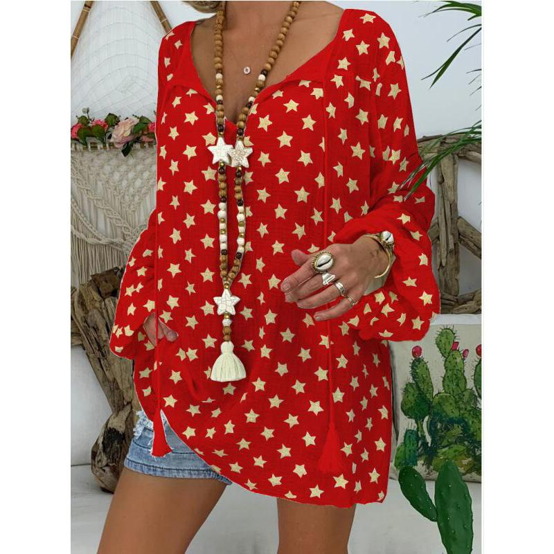 Plus Size Star Print Tassel Long Sleeve Shirt