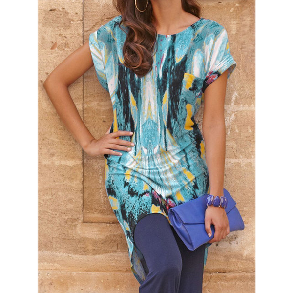 Summer Women's Short-Sleeve Printed Loose Dress