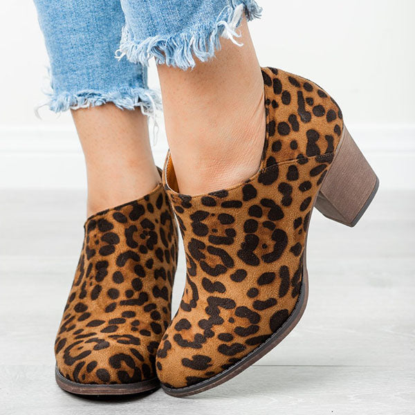 Casual Lady Chunky Heel Zipper Boots