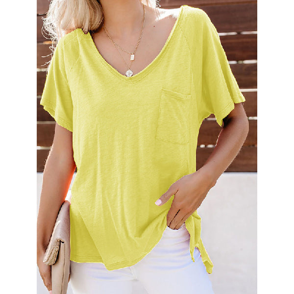 Tops Solid Color V-Neck Short Sleeve