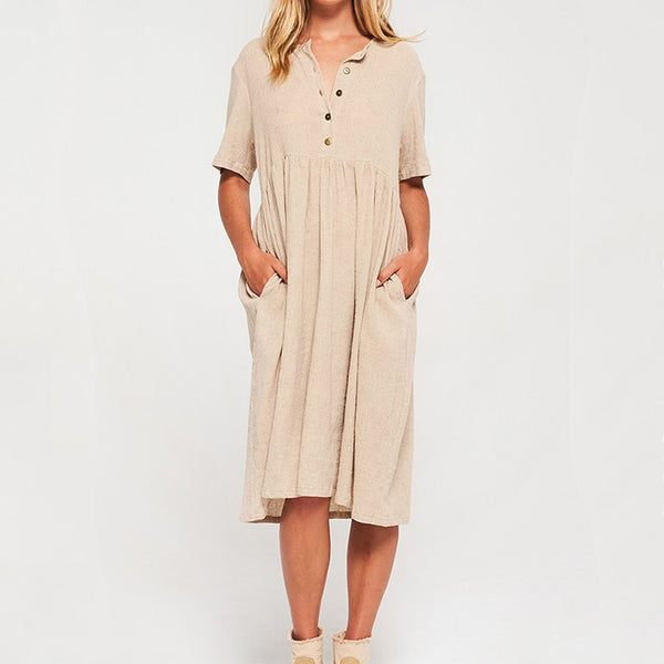 Solid Color Short-Sleeved Cotton & Linen Slim Dress
