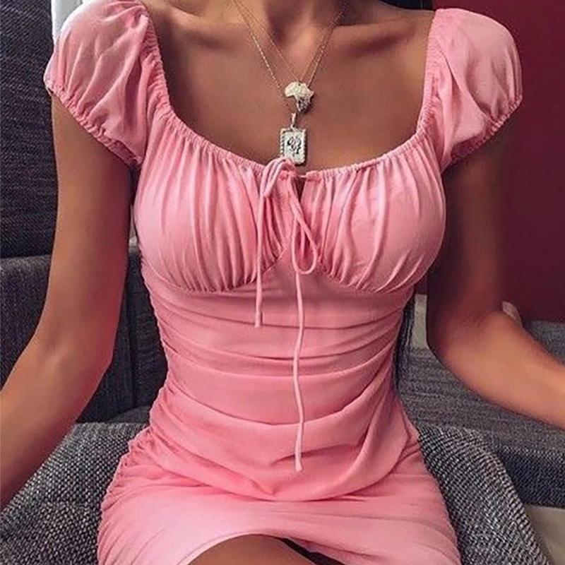 Women Fashion Sexy Slim Pleats Pullover Lace Up Dress