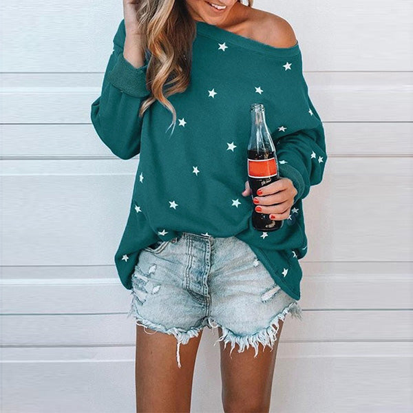 Casual Long Sleeve Star Printed Blouses