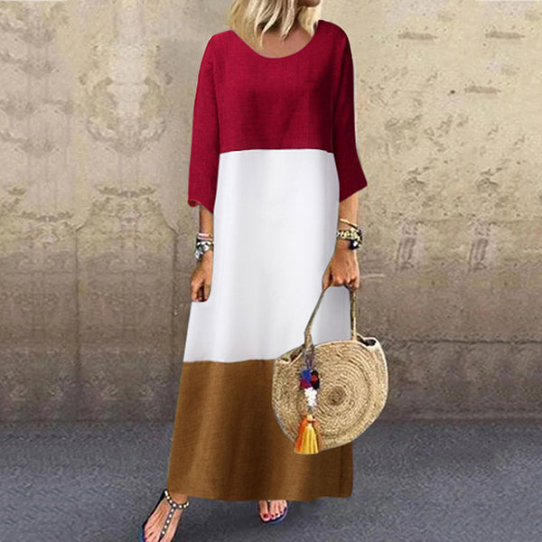 Women's 3/4 Sleeve Striped Fall Casual Loose Dresses
