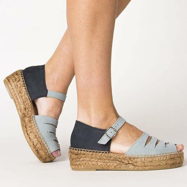 Women Peep Toe Color Block Platform Wedge Sandals