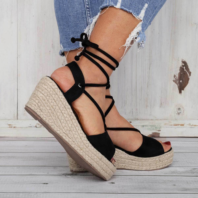 Summer Lace-Up Espadrilles Wedge Sandals