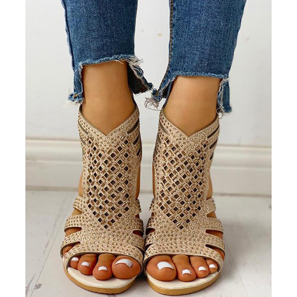 Casual Flat Studded Hollow Out Sandals