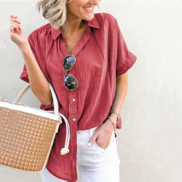 Striped Lapel Short Sleeves Button Blouse