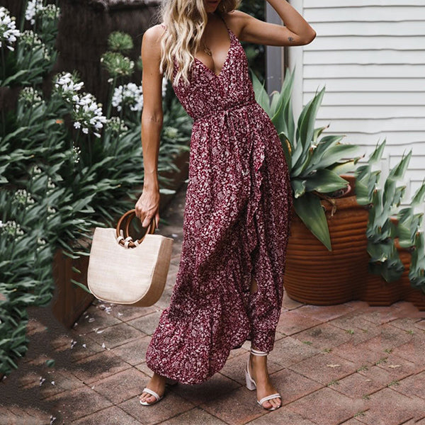 Sexy Flower Printed V Neck Dress