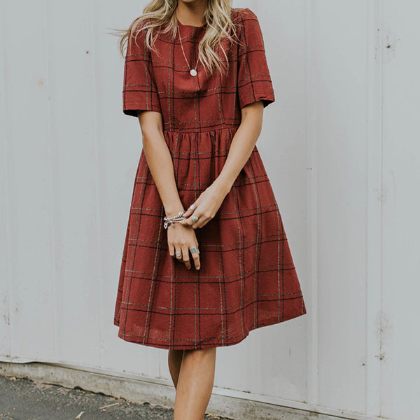 Casual British Plaid Dress