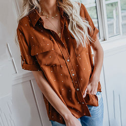 Polka Dot Lapel Neck Blouse