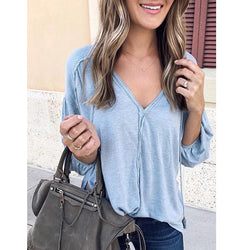 V-Neck Casual Solid Color Long Sleeve Loose Blouses