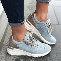 Women Lace-up Hollow-out Zipper Wedge Sneakers