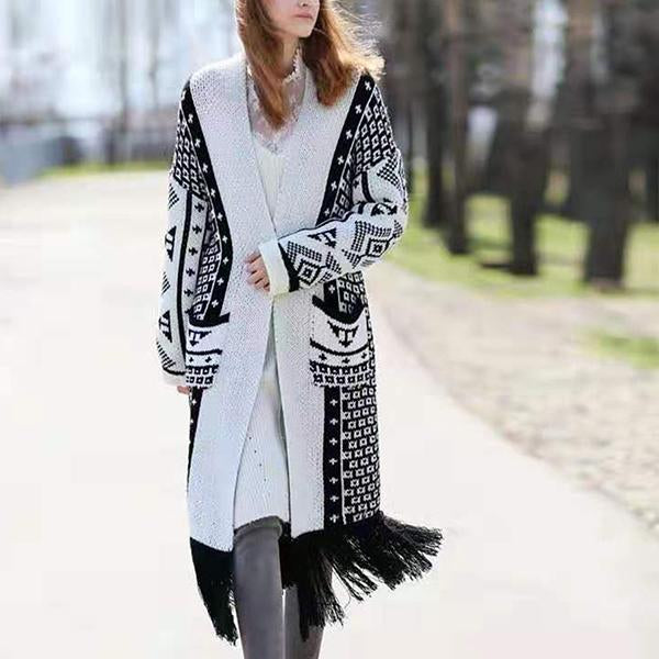 Women's Tassel Sweater Woolen Cardigan Coat