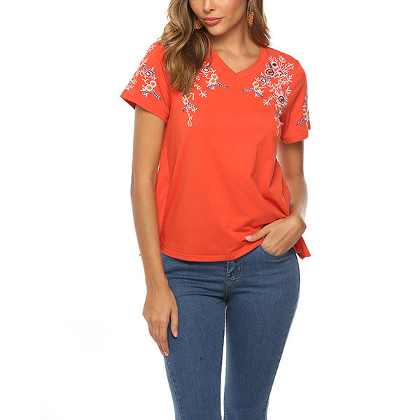 Casual Women Solid Color Cotton Summer Blouse
