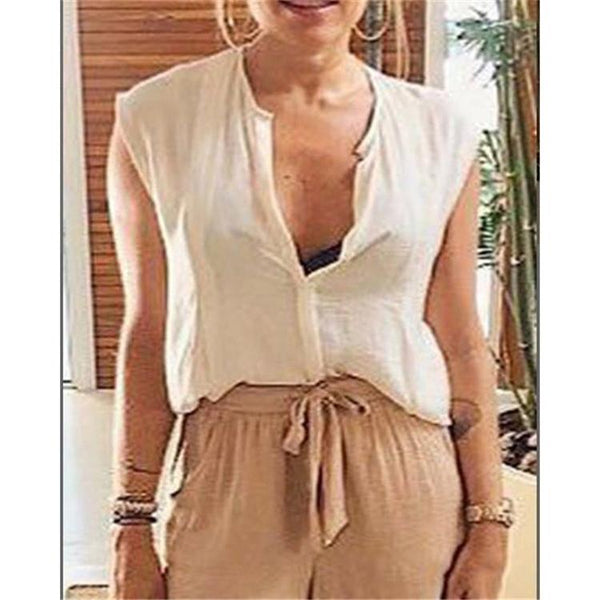 V-Neck Solid Color Shirt Sleeveless Vest