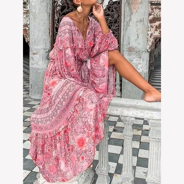 Tribal Long Sleeve Boho Dresses
