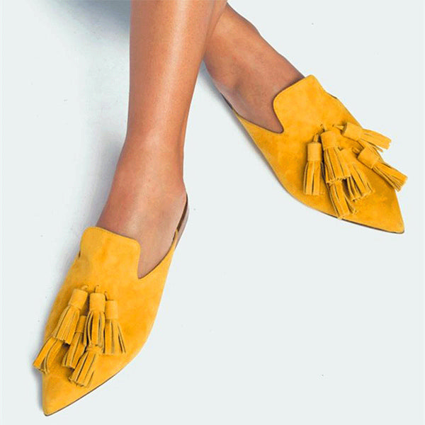 Casual Tassel Solid Color Slippers