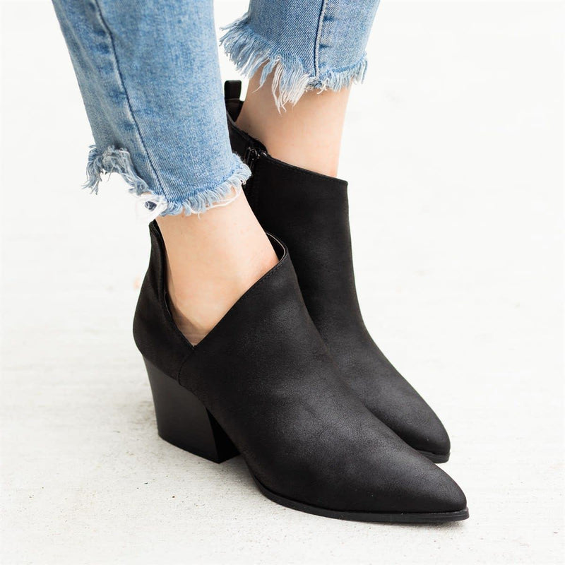 Female Side Zipper Pointed Martin Ankle Boots