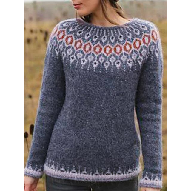 Knitted Geometric Casual Color-Block Sweater