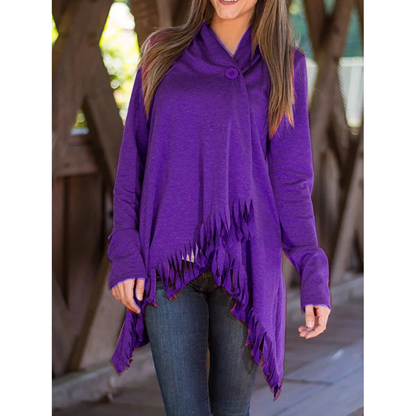 Casual V Neck Solid Color Outerwear Blouse