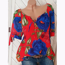 V-Neck Printed Short Sleeved Blouse