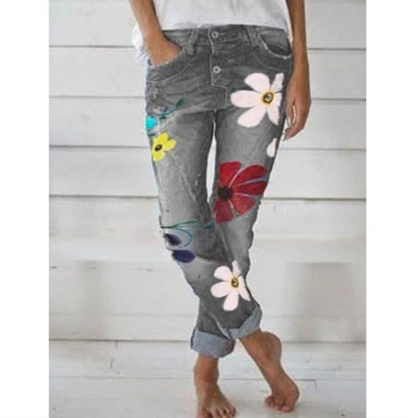 Women Casual Fashion Floral Printed Jeans