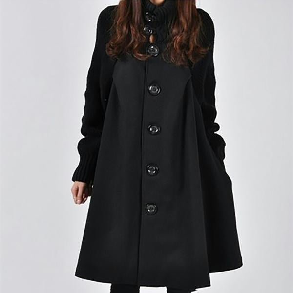 Women Winter Solid Color Fashion Loose Plus Szies Coats