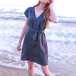 Elegant Bowknot V Neck Vacation Dress