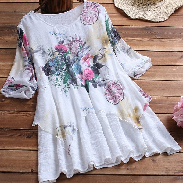 Elegant Vintage Irregular Printed Dress