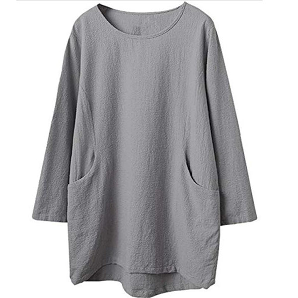 Casual Pockets Plus Size Fall Blouses
